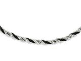 Chisel Stainless Steel Black Ip-plated Box and Rope Twisted 18in Necklace style: SRN95118