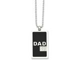 Chisel Stainless Steel Black-plated and CZ Dad Dog Tag Necklace style: SRN95624