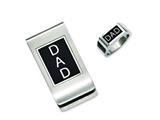 Chisel Stainless Steel Black Enamel Dad Money Clip and Ring Set style: SRSET24