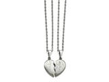 """Chisel Stainless Steel Brushed 1/2 Heart """"mother""""/""""daughter"""" Necklace Set style: SRSET2818"""