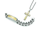 Chisel Stainless Steel Polished/matte Yellow Ip CZ Necklace/bracelet Set style: SRSET34