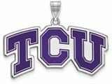 LogoArt Sterling Silver Texas Christian University Large Enamel Pendant Necklace style: SS011TCU