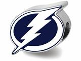 Logoart 925 Sterling Silver Tampa Bay Lightning Lightning Bolt With Border Enameled Extruded Logo Bead style: SS500LIG
