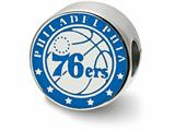 LogoArt Sterling Silver Philadelphia 76ers 76ers On Ball Philadelphia Around Enameled Extruded Logo Bead Charm style: SS500SEV