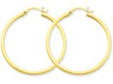 14 kt Yellow Gold 2mm Square Tube Hoop Earrings style: T1071