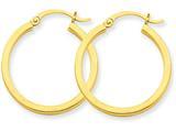 14k 2mm Square Tube Hoop Earrings style: T1077