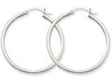 14k White Gold 2mm Round Hoop Earrings style: T825
