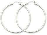 14k White Gold 2mm Round Hoop Earrings style: T832
