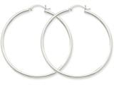 14k White Gold 2mm Round Hoop Earrings style: T833