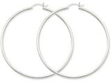 14k White Gold 2mm Round Hoop Earrings style: T835