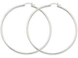 14k White Gold 2mm Round Hoop Earrings style: T836
