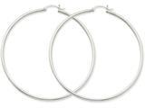 Finejewelers 14k White Gold 2mm Round Hoop Earrings style: T836