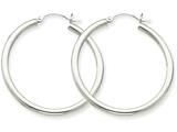 14k White Gold 2.5mm Round Hoop Earrings style: T837