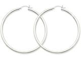 14k White Gold 2.5mm Round Hoop Earrings style: T843