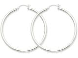 14k White Gold 2.5mm Round Hoop Earrings style: T844
