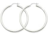 14k White Gold 2.5mm Round Hoop Earrings style: T845