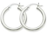 14k White Gold 3mm Round Hoop Earrings style: T850