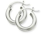 14k White Gold 3mm Round Hoop Earrings style: T851