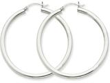 14k White Gold 3mm Round Hoop Earrings style: T853