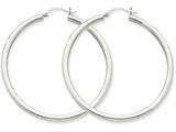 14k White Gold 3mm Round Hoop Earrings style: T854