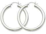 14k 4mm White Gold Hoop Earrings style: T858