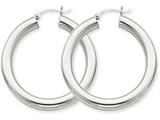 14k White Gold Polished 5mm Tube Hoop Earrings style: T867