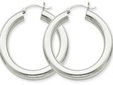 14k White Gold Polished 5mm Tube Hoop Earrings style: T868