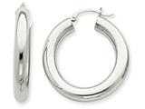 14k White Gold Polished 5mm Tube Hoop Earrings style: T869