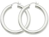 14k White Gold Polished 5mm Tube Hoop Earrings style: T873