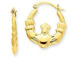 14k Polished Claddagh Hoop Earrings style: T900