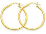 14k Polished 2mm Round Hoop Earrings style: T914