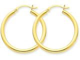 14k Polished 2.5mm Round Hoop Earrings style: T933