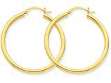 14k Polished 2.5mm Round Hoop Earrings style: T934