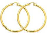 14k Polished 4mm X 65mm Tube Hoop Earrings style: T955