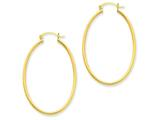 14k Yellow Gold Oval Polished Hoop Earring style: TA259