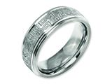Chisel Titanium Ridged Edge 8mm Laser Design Brushed and Polished Weeding Band style: TB11E