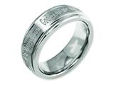 Chisel Titanium Ridged Edge 8mm Laser Design Brushed and Polished Weeding Band style: TB11G