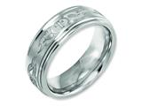 Chisel Titanium Ridged Edge 8mm Laser Design Brushed and Polished Weeding Band style: TB11S