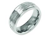 Chisel Titanium Ridged Edge 8mm Laser Design Brushed and Polished Weeding Band style: TB11T