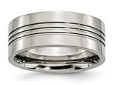 <b>Engravable</b> Chisel Titanium Grooved 9mm Polished Wedding Band style: TB120