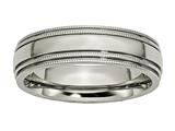 <b>Engravable</b> Chisel Titanium Grooved And Beaded Edge 6mm Polished Wedding Band style: TB134