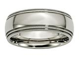 Chisel Titanium Grooved And Beaded Edge 8mm Polished Weeding Band style: TB135