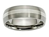 Chisel Titanium Grooved 7mm Sterling Silver Inlay Brushed/polished Weeding Band style: TB138