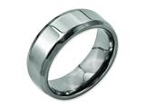 <b>Engravable</b> Chisel Titanium Beveled Edge 8mm Polished Wedding Band style: TB157