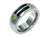 Chisel Titanium Grooved Black and Yellow Ip-plated 8mm Brushed Weeding Band style: TB162
