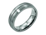 <b>Engravable</b> Chisel Titanium Grooved 6mm Satin Wedding Band style: TB164