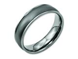 <b>Engravable</b> Chisel Titanium Ridged Edge 6mm Satin And Polished Wedding Band style: TB166