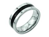 Chisel Titanium Black Carbon Fiber Flat 8mm Polished Weeding Band style: TB177