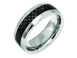 <b>Engravable</b> Chisel Titanium Black Carbon Fiber 8mm Polished Wedding Band style: TB178