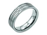 <b>Engravable</b> Chisel Titanium Grooved 6mm Brushed And Polished Wedding Band style: TB186